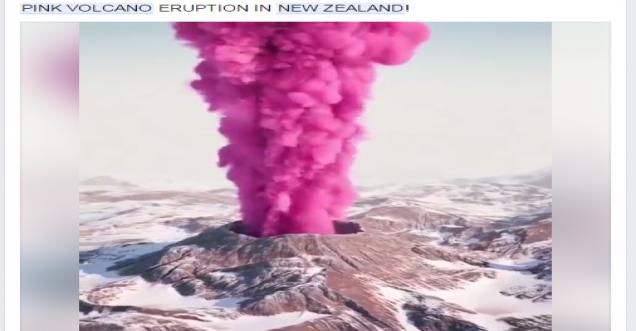 Pink Volcano Eruption In New Zealand 3d Rendering At Its