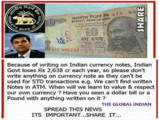 Banks will not accept if anything is written on the notes - Fake