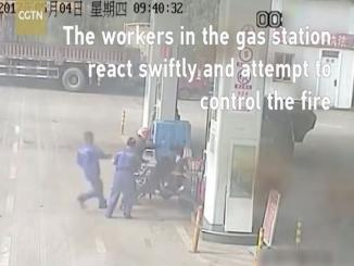 Chinese man video fills petrol, puts fire and jumps into fire at petrol pump
