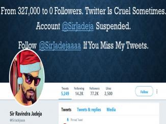 Sir Ravindra Jadeja twitter account suspended, yet back with another account and photoshop