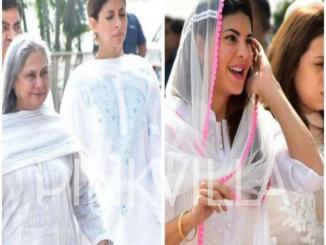 Jacqueline Fernandez and Jaya Bachchan laughing picture at Sridevi's funeral