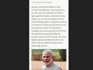 Narendra Modi in Top 10 Most Corrupt Prime Minister