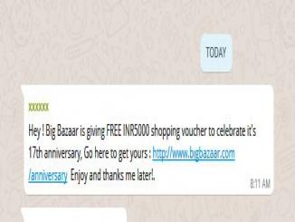 Big Bazaar is not giving FREE INR5000 shopping voucher it's fake