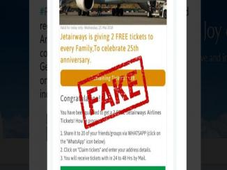 Jet Airways free couple tickets has become viral in WhatsApp it's fake