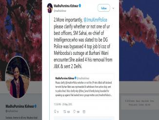 J&K Police shocked, Madhu Kishwar Misleading Tweet Burhan Wani
