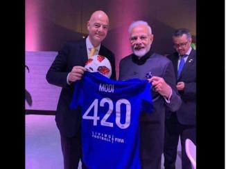 Text On PM Modi's Football Jersey, Reading Modi 420 is fake