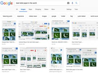 Pakistani Flag on Google search for Best toilet paper in world