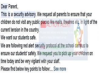 Did Delhi Schools issue any security advisory post strikes?