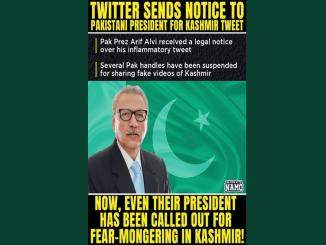 twitter notice to pakistan president