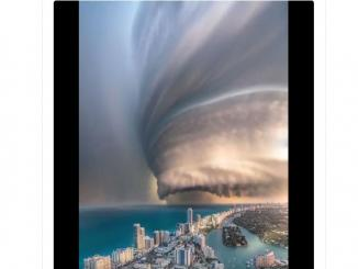 A view of Hurricane Dorian from the coasts of Florida is fake