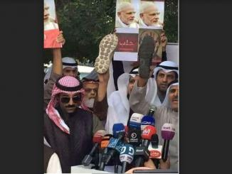 Saudi Arabia protesting and showing shoes to Modi is fake