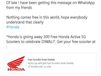 Honda giving away 372 Free Honda Activa 5G Scooters 72nd ANNIVERSARY Fake