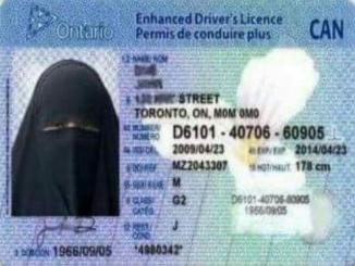 Driving license with full face veil from Canada