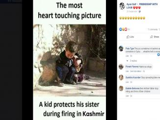 Fake post of a kid protecting his sister during firing in Kashmir