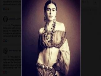 Photograph of Mexican painter Frida Kahlo shared on top of Madonna