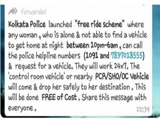 Kolkata police free ride scheme for any women IS A HOAX