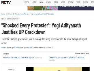 NDTV fakes news, misreports Yogi Adityanath tweet says Yogi Justifies Crackdown