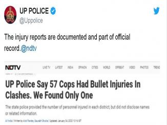 NDTV fake news, disclaims UP police claim of 57 police officers suffered gunshot