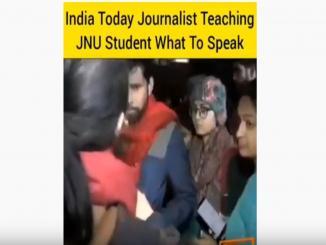 India Today Journalist teaching JNUSU vice-president Saket Moon what to speak on TV.