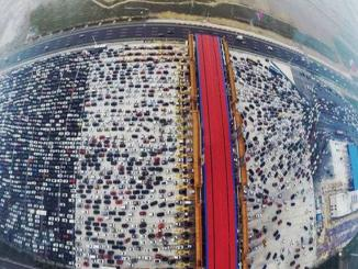 Video:  50 lane highway china merges into 4, Beijing china