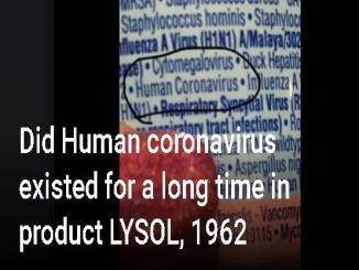 Did Human coronavirus existed for a long time in product LYSOL, 1962