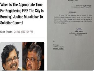 Justice Justice Murlidhar's transfer to Punjab and Haryana High