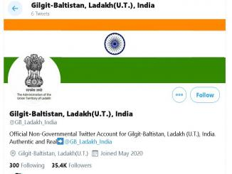 Is @GB_Ladakh_India, official account of Gilgit-Baltistan, Ladakh, UT, India