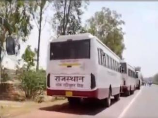 Are Congress 500/1000 buses standing near UP-Rajasthan Border?