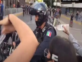 Mexico Video police on fire by rioters passed off as US Protest